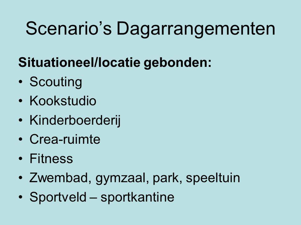 Scenario's Dagarrangementen Situationeel/locatie gebonden: •Scouting •Kookstudio •Kinderboerderij •Crea-ruimte •Fitness •Zwembad, gymzaal, park, speel