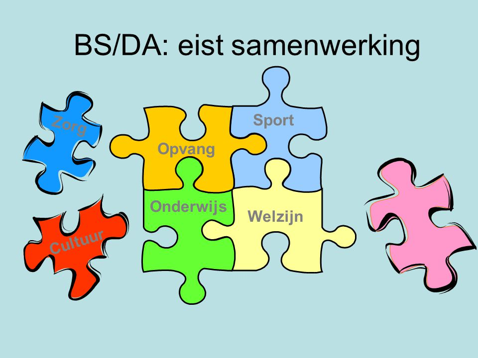 BS/DA: eist samenwerking Onderwijs Welzijn Opvang Sport Cultuur Zorg