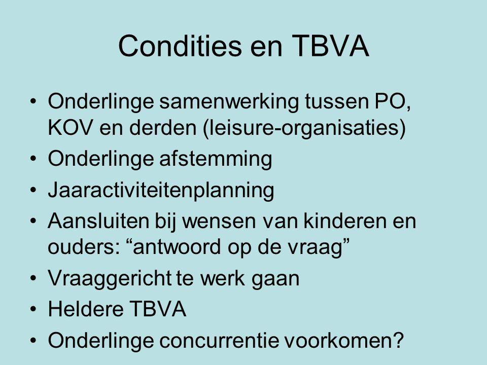 Condities en TBVA •Onderlinge samenwerking tussen PO, KOV en derden (leisure-organisaties) •Onderlinge afstemming •Jaaractiviteitenplanning •Aansluite
