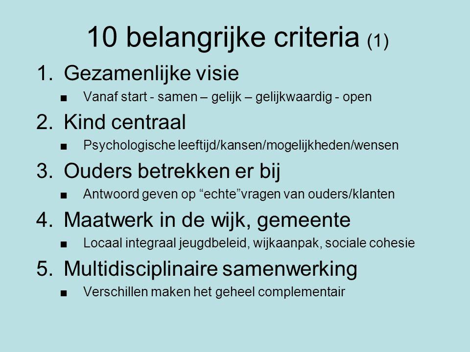 10 belangrijke criteria (1) 1.Gezamenlijke visie ■Vanaf start - samen – gelijk – gelijkwaardig - open 2.Kind centraal ■Psychologische leeftijd/kansen/