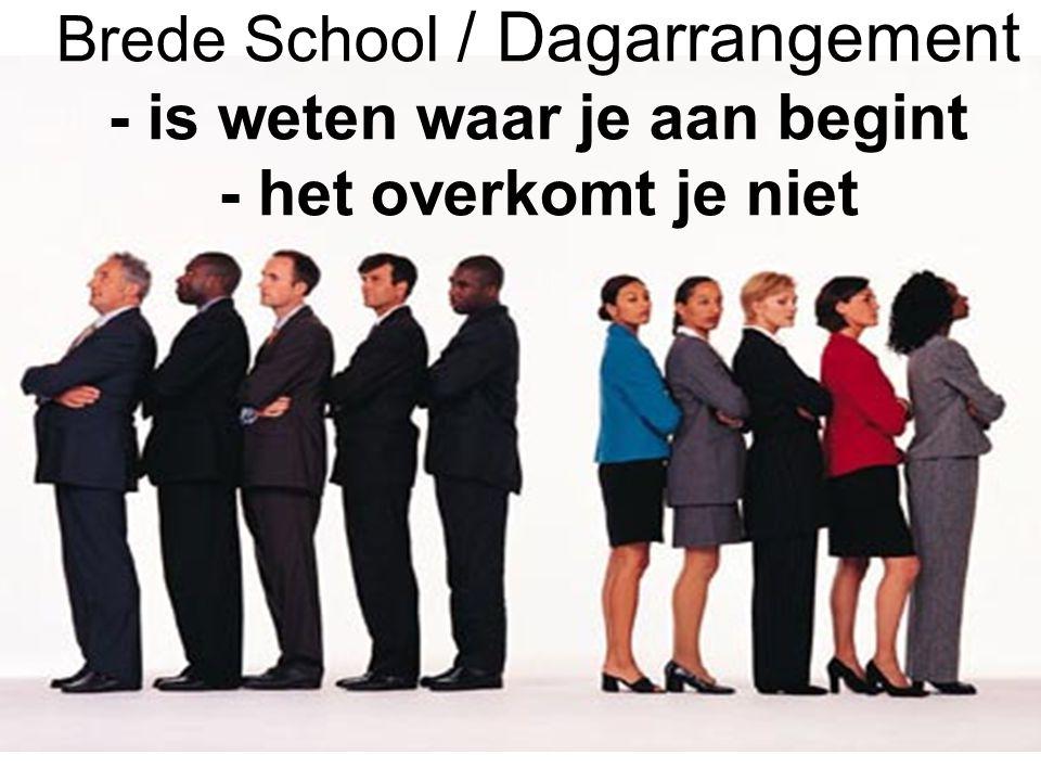 Brede School / Dagarrangement - is weten waar je aan begint - het overkomt je niet