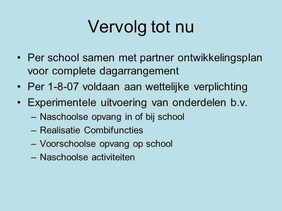 Vervolg tot nu •Per school samen met partner ontwikkelingsplan voor complete dagarrangement •Per 1-8-07 voldaan aan wettelijke verplichting •Experimen