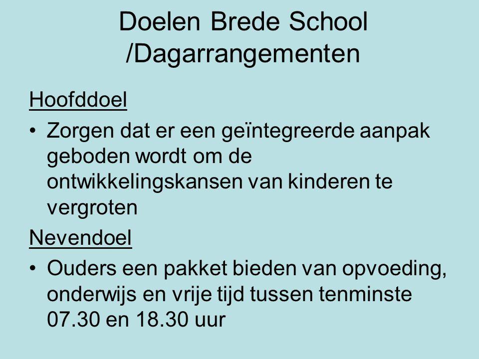Doelen Brede School /Dagarrangementen Hoofddoel •Zorgen dat er een geïntegreerde aanpak geboden wordt om de ontwikkelingskansen van kinderen te vergro