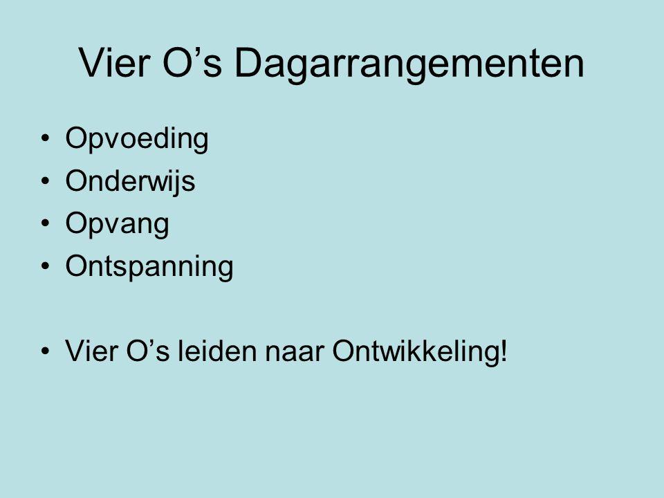 Vier O's Dagarrangementen •Opvoeding •Onderwijs •Opvang •Ontspanning •Vier O's leiden naar Ontwikkeling!