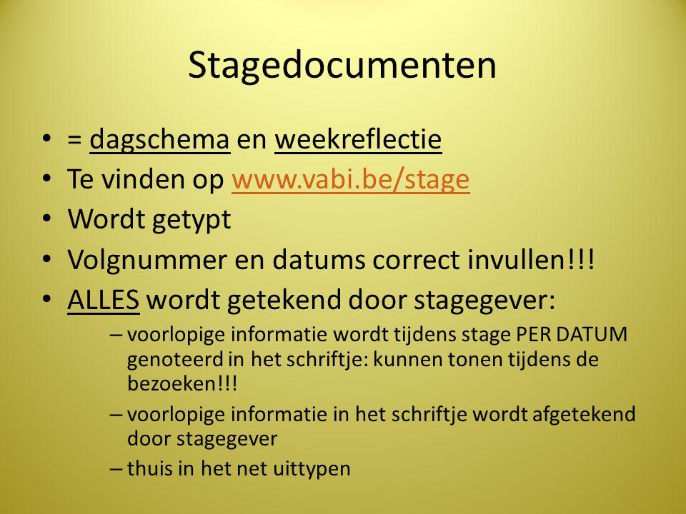 Stagedocumenten • = dagschema en weekreflectie • Te vinden op www.vabi.be/stagewww.vabi.be/stage • Wordt getypt • Volgnummer en datums correct invulle