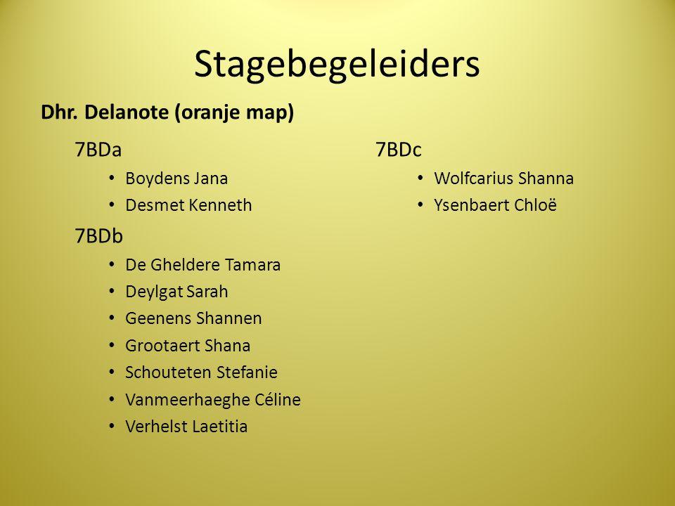 Stagebegeleiders Dhr. Delanote (oranje map) 7BDa • Boydens Jana • Desmet Kenneth 7BDb • De Gheldere Tamara • Deylgat Sarah • Geenens Shannen • Grootae