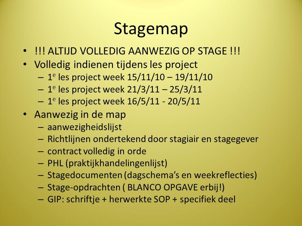 Stagemap • !!! ALTIJD VOLLEDIG AANWEZIG OP STAGE !!! • Volledig indienen tijdens les project – 1 e les project week 15/11/10 – 19/11/10 – 1 e les proj