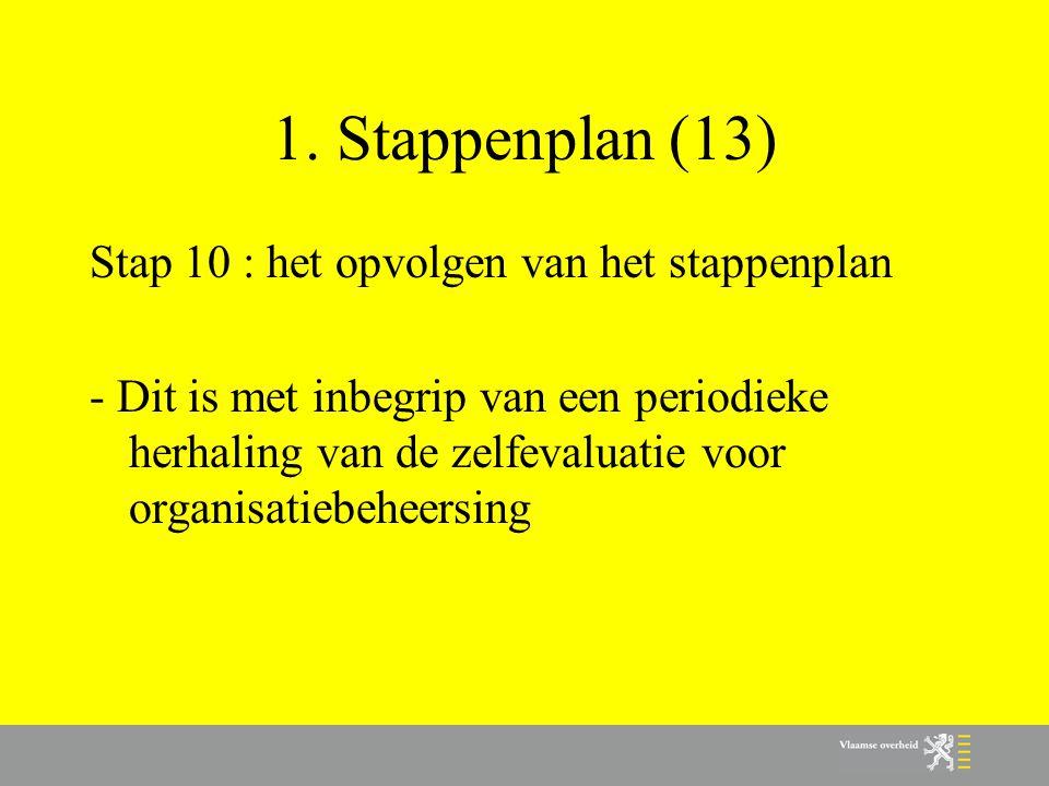 1. Stappenplan (13) Stap 10 : het opvolgen van het stappenplan - Dit is met inbegrip van een periodieke herhaling van de zelfevaluatie voor organisati