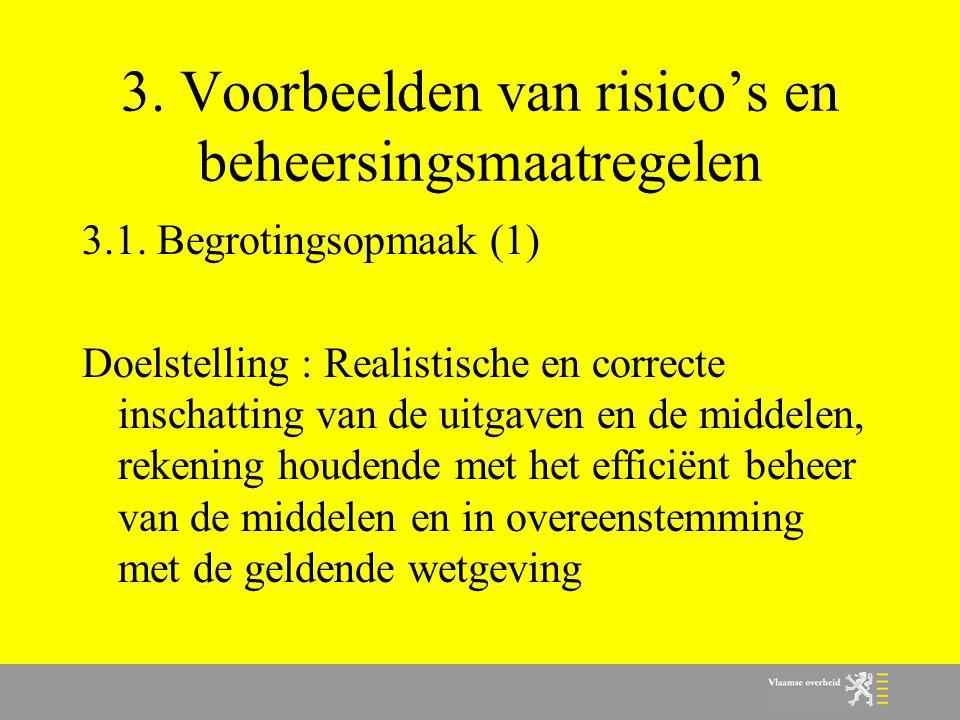 3. Voorbeelden van risico's en beheersingsmaatregelen 3.1. Begrotingsopmaak (1) Doelstelling : Realistische en correcte inschatting van de uitgaven en