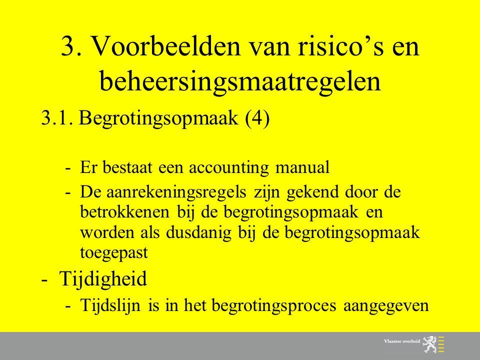 3. Voorbeelden van risico's en beheersingsmaatregelen 3.1. Begrotingsopmaak (4) -Er bestaat een accounting manual -De aanrekeningsregels zijn gekend d