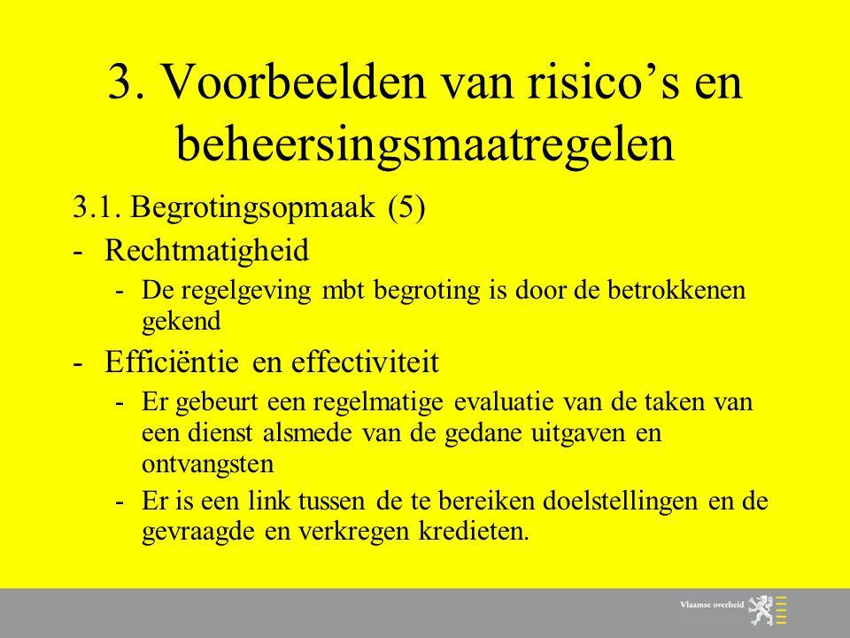 3. Voorbeelden van risico's en beheersingsmaatregelen 3.1. Begrotingsopmaak (5) -Rechtmatigheid -De regelgeving mbt begroting is door de betrokkenen g