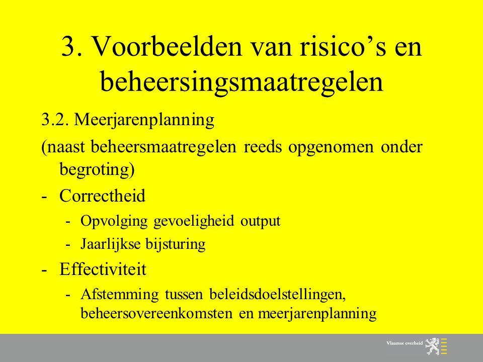 3. Voorbeelden van risico's en beheersingsmaatregelen 3.2. Meerjarenplanning (naast beheersmaatregelen reeds opgenomen onder begroting) -Correctheid -
