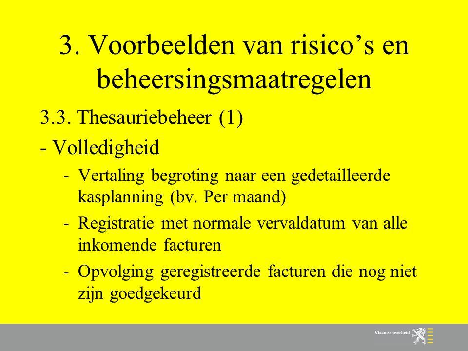3. Voorbeelden van risico's en beheersingsmaatregelen 3.3. Thesauriebeheer (1) - Volledigheid -Vertaling begroting naar een gedetailleerde kasplanning