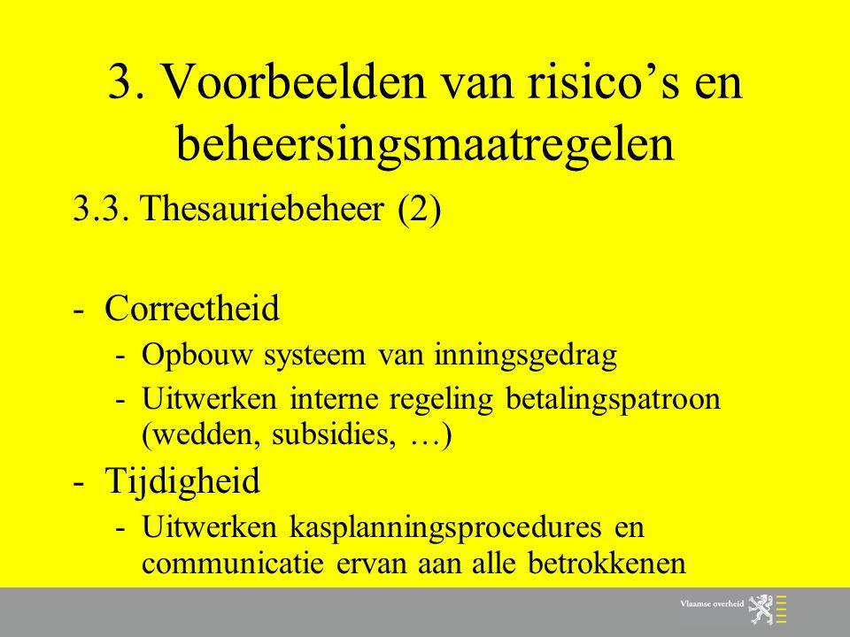 3. Voorbeelden van risico's en beheersingsmaatregelen 3.3. Thesauriebeheer (2) -Correctheid -Opbouw systeem van inningsgedrag -Uitwerken interne regel