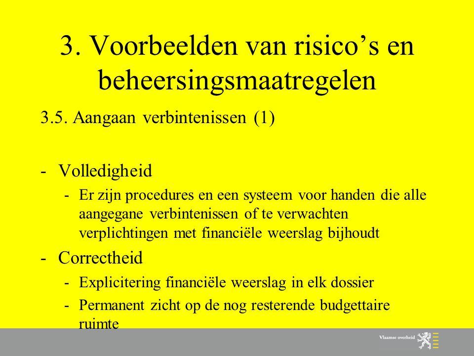 3. Voorbeelden van risico's en beheersingsmaatregelen 3.5. Aangaan verbintenissen (1) -Volledigheid -Er zijn procedures en een systeem voor handen die