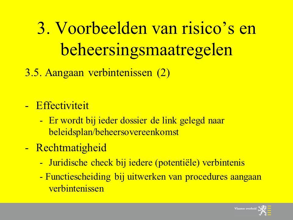 3. Voorbeelden van risico's en beheersingsmaatregelen 3.5. Aangaan verbintenissen (2) -Effectiviteit -Er wordt bij ieder dossier de link gelegd naar b