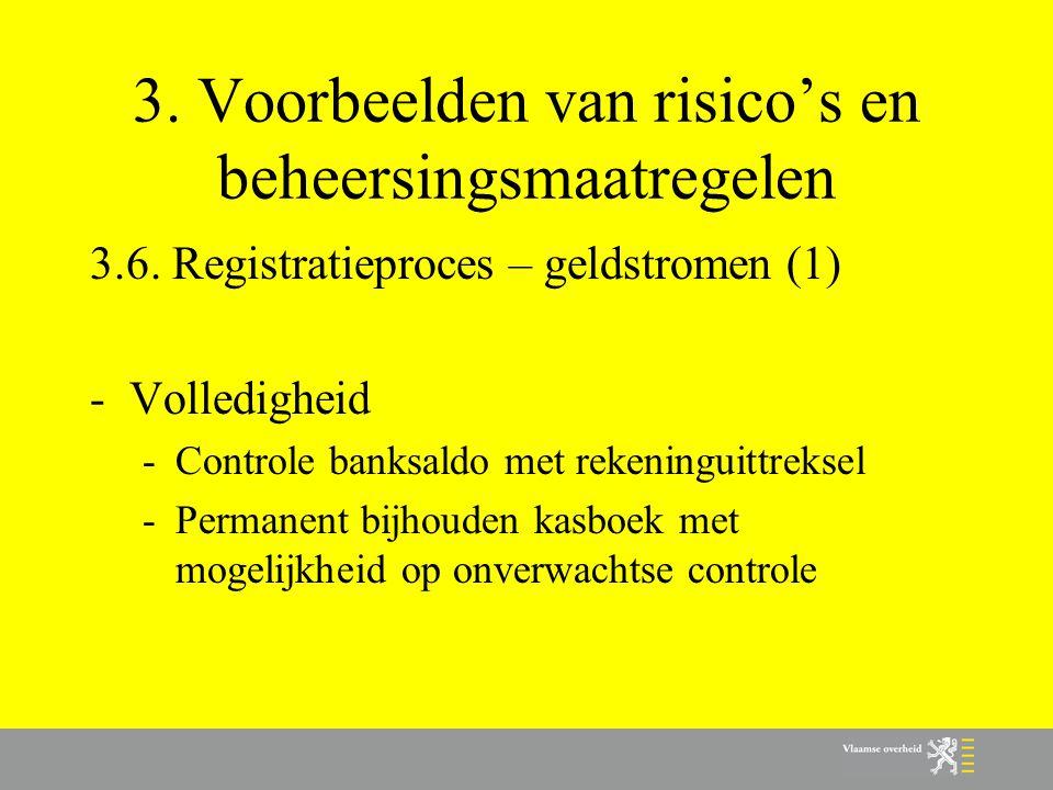 3. Voorbeelden van risico's en beheersingsmaatregelen 3.6. Registratieproces – geldstromen (1) -Volledigheid -Controle banksaldo met rekeninguittrekse
