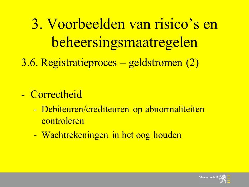 3. Voorbeelden van risico's en beheersingsmaatregelen 3.6. Registratieproces – geldstromen (2) -Correctheid -Debiteuren/crediteuren op abnormaliteiten