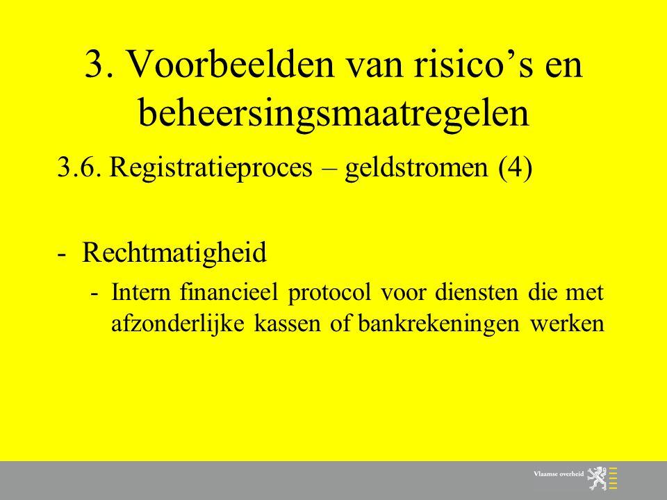 3. Voorbeelden van risico's en beheersingsmaatregelen 3.6. Registratieproces – geldstromen (4) -Rechtmatigheid -Intern financieel protocol voor dienst