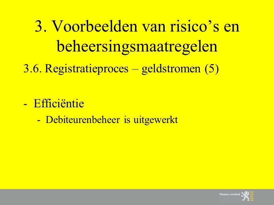 3. Voorbeelden van risico's en beheersingsmaatregelen 3.6. Registratieproces – geldstromen (5) -Efficiëntie -Debiteurenbeheer is uitgewerkt
