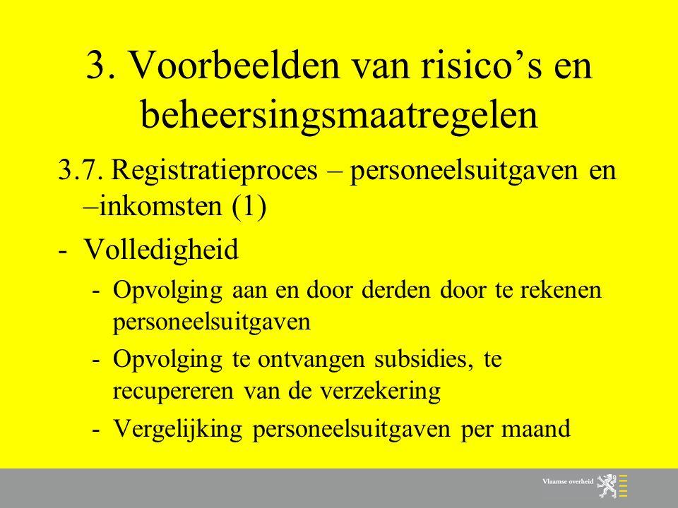 3. Voorbeelden van risico's en beheersingsmaatregelen 3.7. Registratieproces – personeelsuitgaven en –inkomsten (1) -Volledigheid -Opvolging aan en do