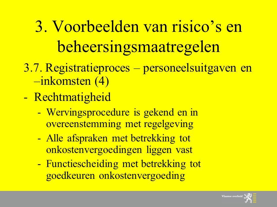 3. Voorbeelden van risico's en beheersingsmaatregelen 3.7. Registratieproces – personeelsuitgaven en –inkomsten (4) -Rechtmatigheid -Wervingsprocedure