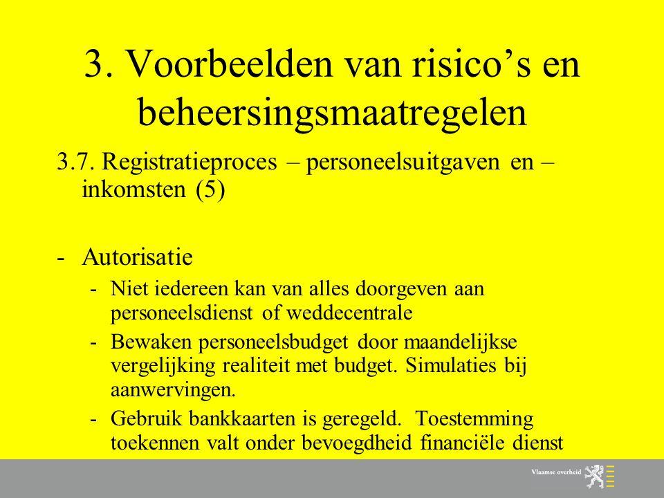 3. Voorbeelden van risico's en beheersingsmaatregelen 3.7. Registratieproces – personeelsuitgaven en – inkomsten (5) -Autorisatie -Niet iedereen kan v
