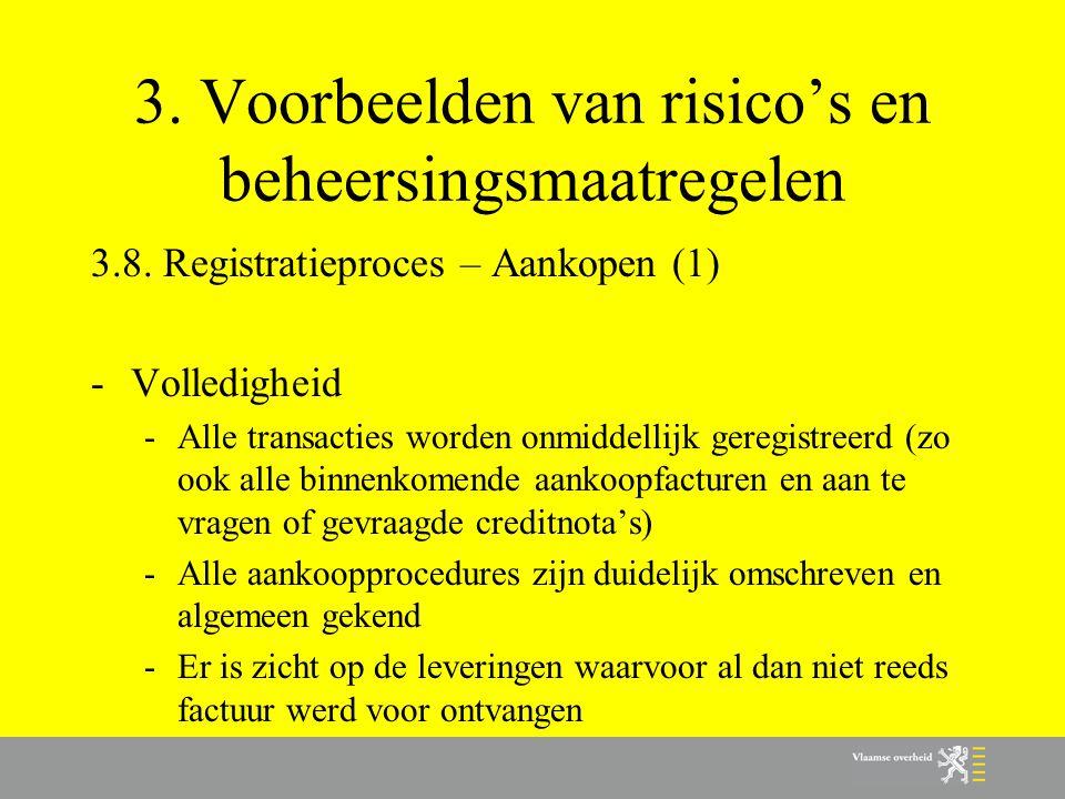 3. Voorbeelden van risico's en beheersingsmaatregelen 3.8. Registratieproces – Aankopen (1) -Volledigheid -Alle transacties worden onmiddellijk geregi
