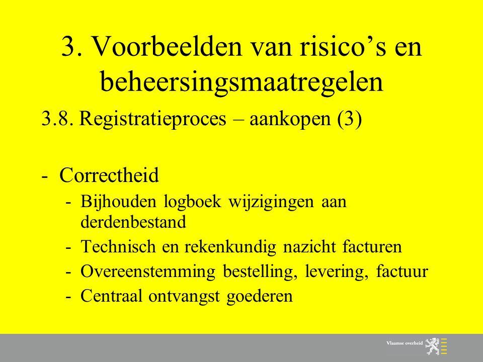 3. Voorbeelden van risico's en beheersingsmaatregelen 3.8. Registratieproces – aankopen (3) -Correctheid -Bijhouden logboek wijzigingen aan derdenbest