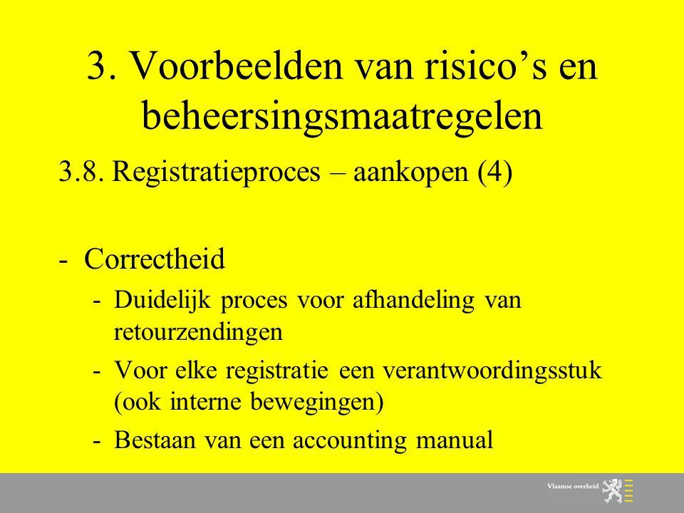 3. Voorbeelden van risico's en beheersingsmaatregelen 3.8. Registratieproces – aankopen (4) -Correctheid -Duidelijk proces voor afhandeling van retour