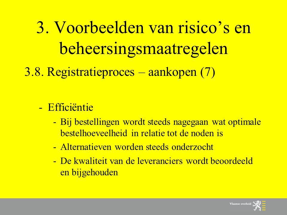3. Voorbeelden van risico's en beheersingsmaatregelen 3.8. Registratieproces – aankopen (7) -Efficiëntie -Bij bestellingen wordt steeds nagegaan wat o