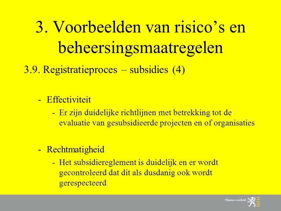 3. Voorbeelden van risico's en beheersingsmaatregelen 3.9. Registratieproces – subsidies (4) -Effectiviteit -Er zijn duidelijke richtlijnen met betrek
