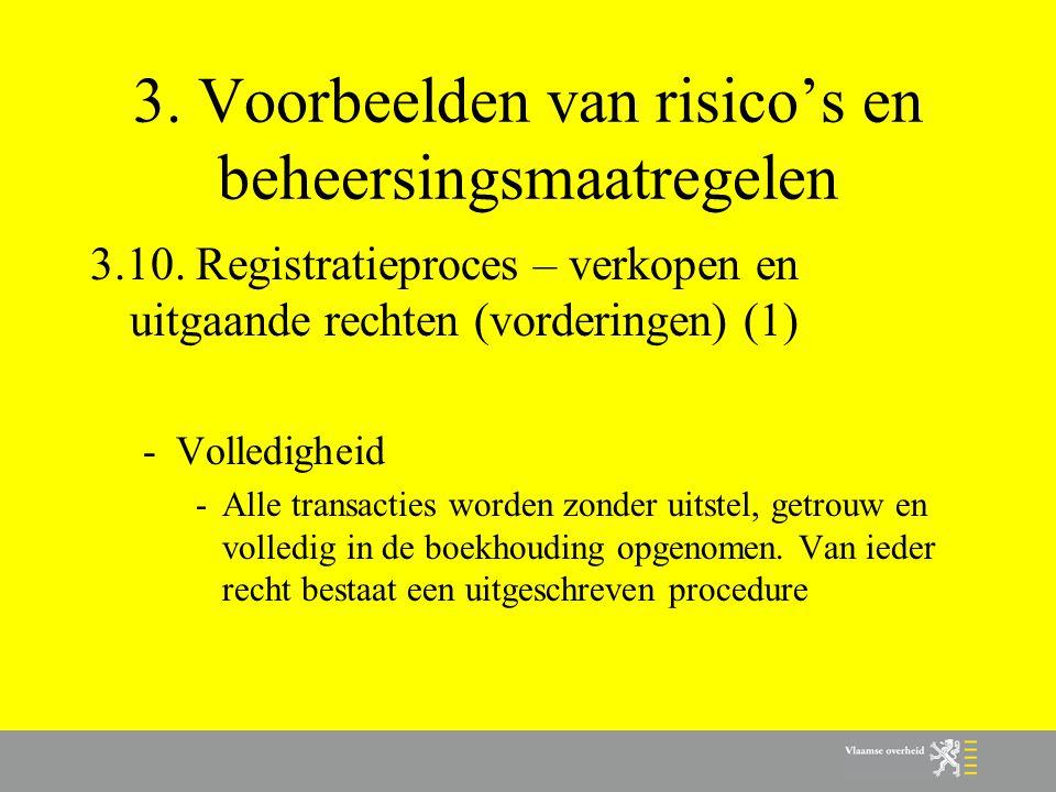 3. Voorbeelden van risico's en beheersingsmaatregelen 3.10. Registratieproces – verkopen en uitgaande rechten (vorderingen) (1) -Volledigheid -Alle tr