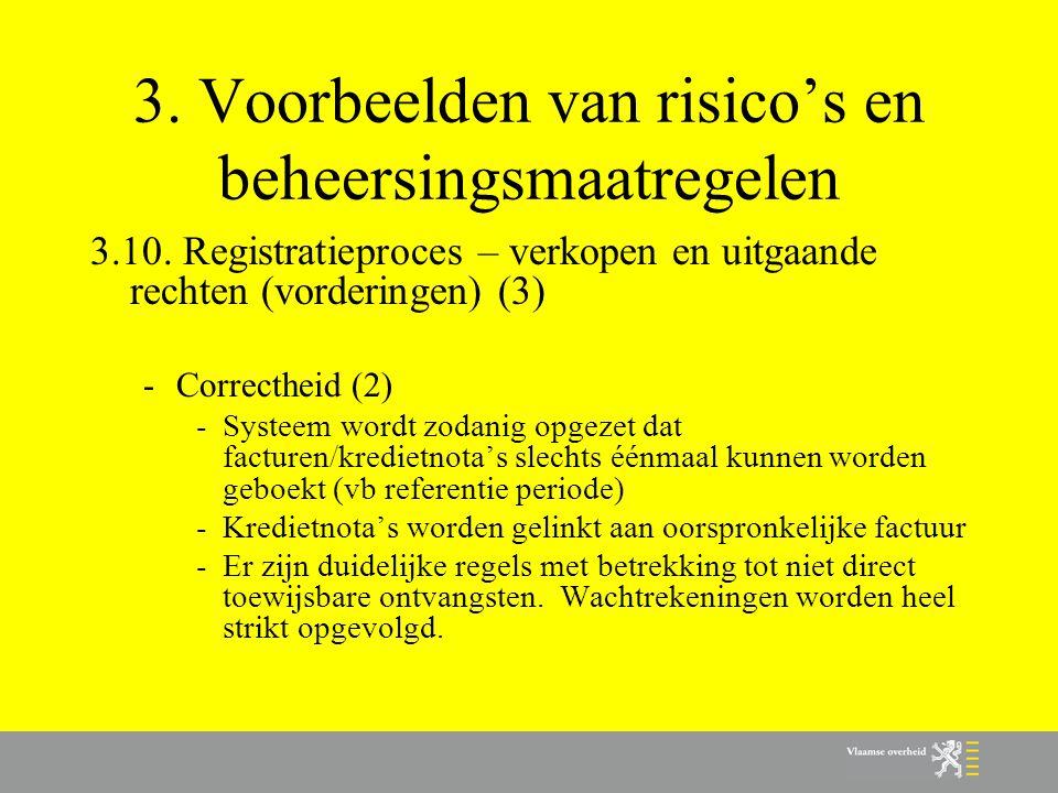 3. Voorbeelden van risico's en beheersingsmaatregelen 3.10. Registratieproces – verkopen en uitgaande rechten (vorderingen) (3) -Correctheid (2) -Syst