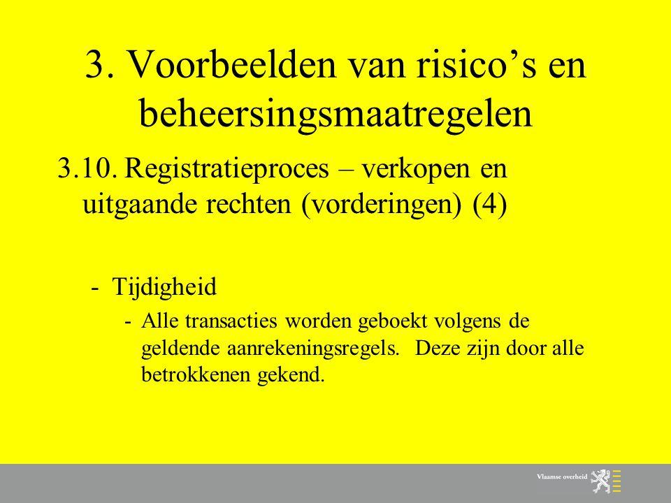 3. Voorbeelden van risico's en beheersingsmaatregelen 3.10. Registratieproces – verkopen en uitgaande rechten (vorderingen) (4) -Tijdigheid -Alle tran