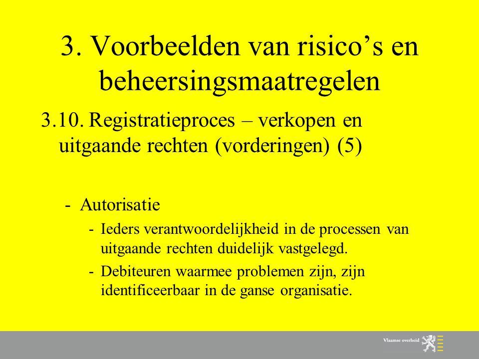 3. Voorbeelden van risico's en beheersingsmaatregelen 3.10. Registratieproces – verkopen en uitgaande rechten (vorderingen) (5) -Autorisatie -Ieders v