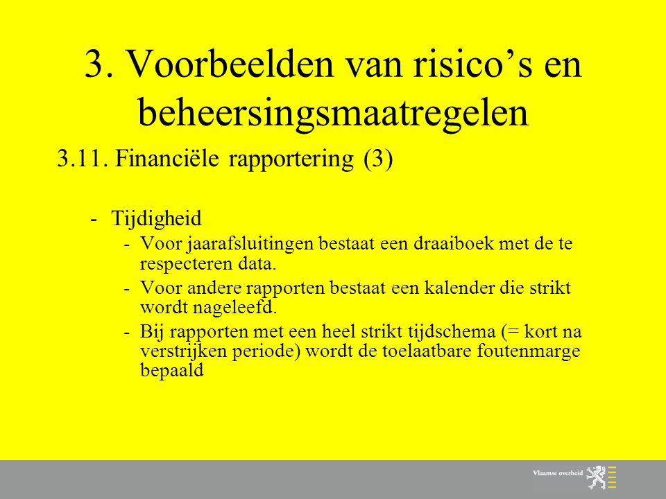 3. Voorbeelden van risico's en beheersingsmaatregelen 3.11. Financiële rapportering (3) -Tijdigheid -Voor jaarafsluitingen bestaat een draaiboek met d