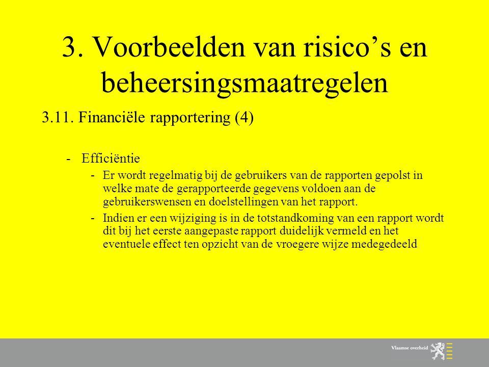 3. Voorbeelden van risico's en beheersingsmaatregelen 3.11. Financiële rapportering (4) -Efficiëntie -Er wordt regelmatig bij de gebruikers van de rap