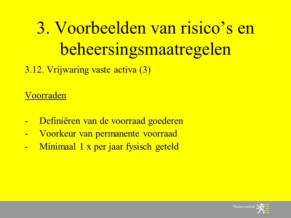 3. Voorbeelden van risico's en beheersingsmaatregelen 3.12. Vrijwaring vaste activa (3) Voorraden -Definiëren van de voorraad goederen -Voorkeur van p
