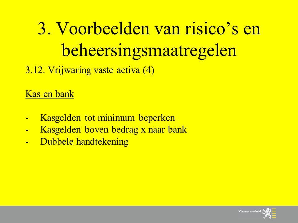 3. Voorbeelden van risico's en beheersingsmaatregelen 3.12. Vrijwaring vaste activa (4) Kas en bank -Kasgelden tot minimum beperken -Kasgelden boven b