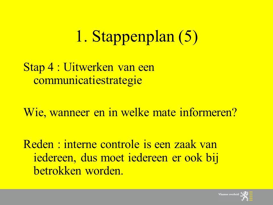 1. Stappenplan (5) Stap 4 : Uitwerken van een communicatiestrategie Wie, wanneer en in welke mate informeren? Reden : interne controle is een zaak van
