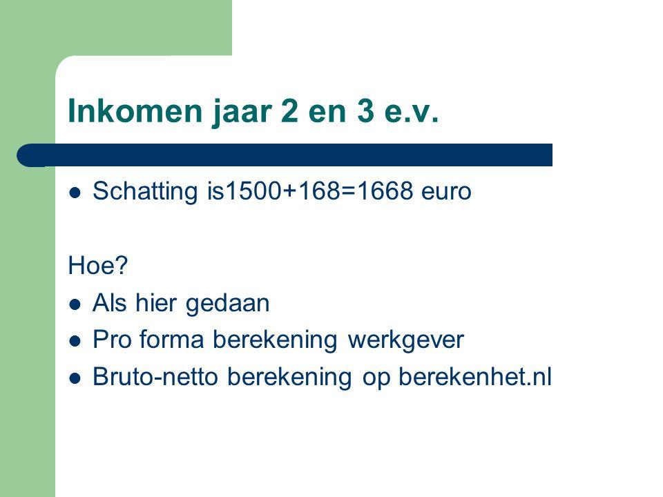 Inkomen jaar 2 en 3 e.v.  Schatting is1500+168=1668 euro Hoe?  Als hier gedaan  Pro forma berekening werkgever  Bruto-netto berekening op berekenh