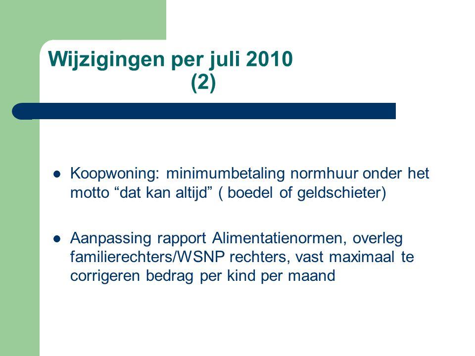 """Wijzigingen per juli 2010 (2)  Koopwoning: minimumbetaling normhuur onder het motto """"dat kan altijd"""" ( boedel of geldschieter)  Aanpassing rapport A"""