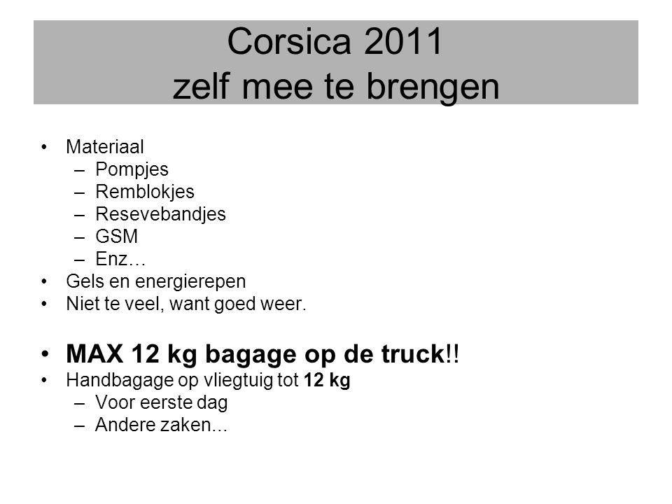 Corsica 2011 zelf mee te brengen •Materiaal –Pompjes –Remblokjes –Resevebandjes –GSM –Enz… •Gels en energierepen •Niet te veel, want goed weer. •MAX 1