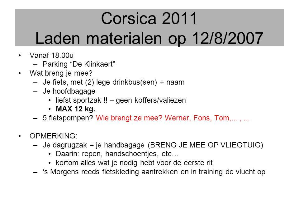 """Corsica 2011 Laden materialen op 12/8/2007 •Vanaf 18.00u –Parking """"De Klinkaert"""" •Wat breng je mee? –Je fiets, met (2) lege drinkbus(sen) + naam –Je h"""