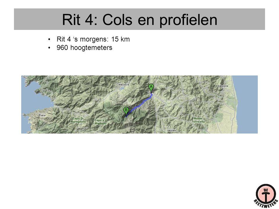 Rit 4: Cols en profielen •Rit 4 's morgens: 15 km •960 hoogtemeters
