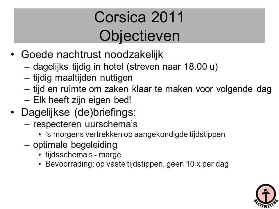 Corsica 2011 Objectieven •Goede nachtrust noodzakelijk –dagelijks tijdig in hotel (streven naar 18.00 u) –tijdig maaltijden nuttigen –tijd en ruimte o