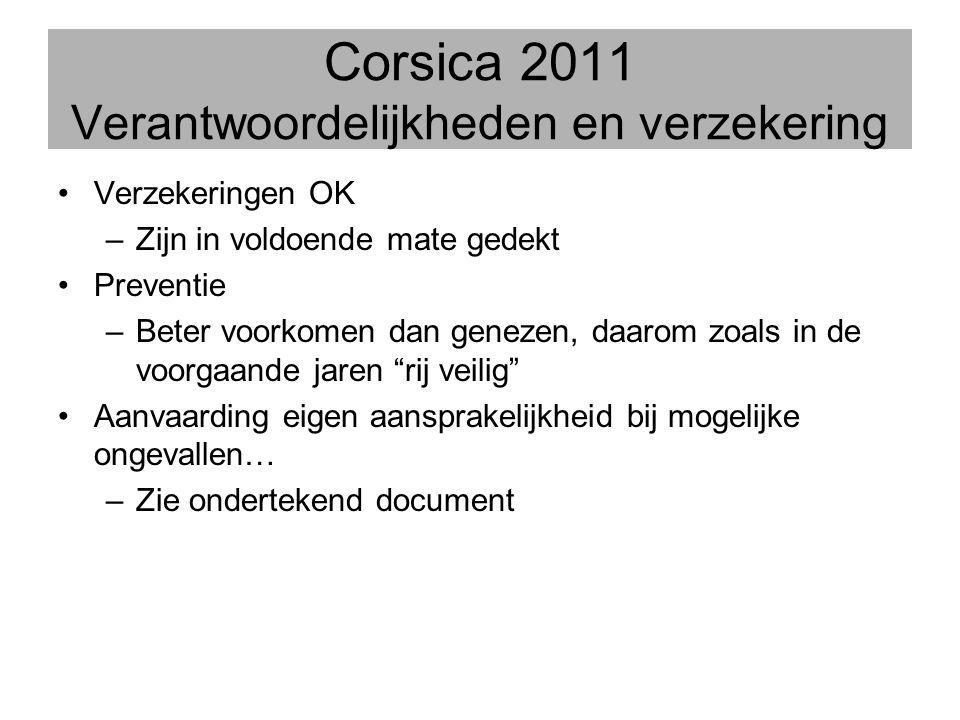 Corsica 2011 Verantwoordelijkheden en verzekering •Verzekeringen OK –Zijn in voldoende mate gedekt •Preventie –Beter voorkomen dan genezen, daarom zoa