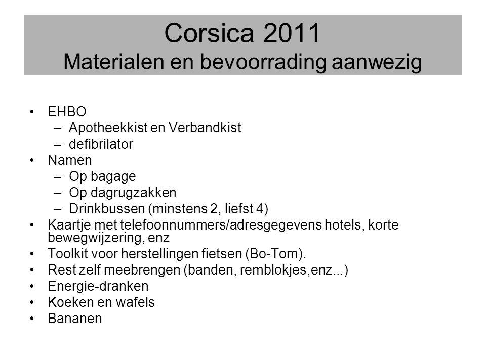 Corsica 2011 Materialen en bevoorrading aanwezig •EHBO –Apotheekkist en Verbandkist –defibrilator •Namen –Op bagage –Op dagrugzakken –Drinkbussen (min