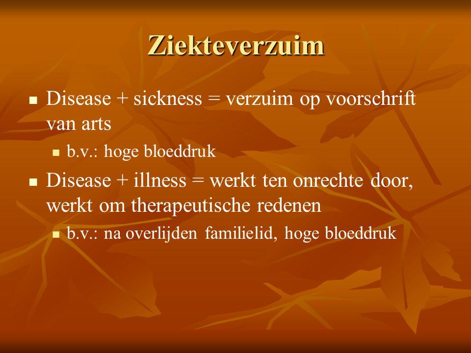 Ziekteverzuim   Disease = ziekte geen belemmering voor werken, tenzij arts anders voorschrijft   b.v.: cariës   Illness = zet klacht niet om in arbeidsongeschiktheid   b.v.: kater